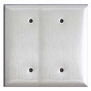 Mulberry 97152 2-Gang Blank Wallplate; Box Mount, Stainless Steel, Silver