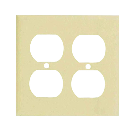 Mulberry 99102 2-Gang Standard-Size Duplex Receptacle Plate; Stainless Steel, Ivory