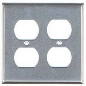 Mulberry 97102 2-Gang Standard-Size Duplex Receptacle Plate; Screw Mount, Stainless Steel, Silver