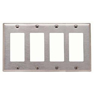 Mulberry 97404 4-Gang Standard-Size Duplex Receptacle Plate; Screw Mount, Stainless Steel, Silver
