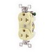 Bryant Electric CBRS20I Double Pole Straight Blade Duplex Receptacle; Screw Mount, 125 Volt, 20 Amp, Ivory