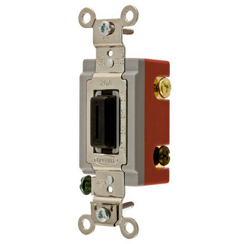Hubbell Wiring HBL1222L Extra Heavy Duty Grade Two Position Locking Toggle Switch 2-Pole  120 - 277 Volt AC  20 Amp  Black