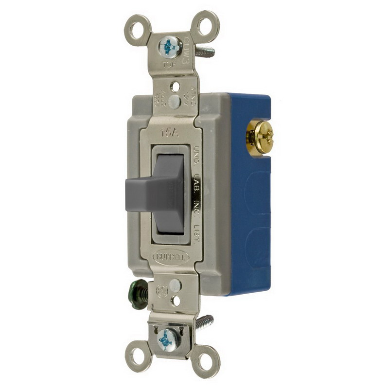 Hubbell Wiring HBL1556GY Three Position Two Circuit Center Off Toggle Switch; SPDT, 120 - 277 Volt AC, 15 Amp, Gray