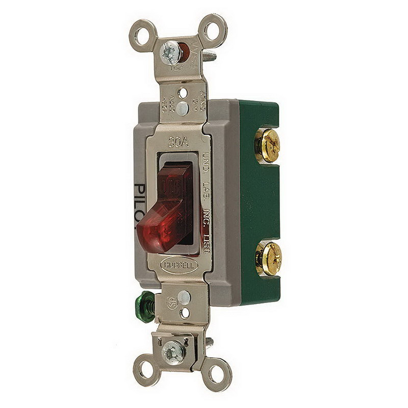 Hubbell Wiring Hbl3032pl Heavy Duty Grade Two Position Ac Pilot Light Toggle Switch  2
