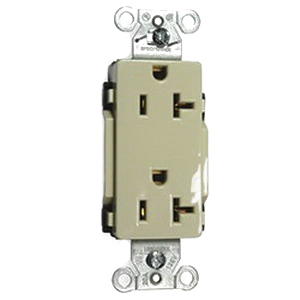 Hubbell Wiring DR20I Double Pole Straight Blade Duplex Receptacle; Screw Mount, 125 Volt, 20 Amp, Ivory