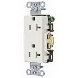 Hubbell Wiring DR20WHI Double Pole Straight Blade Duplex Receptacle; Screw Mount, 125 Volt, 20 Amp, White