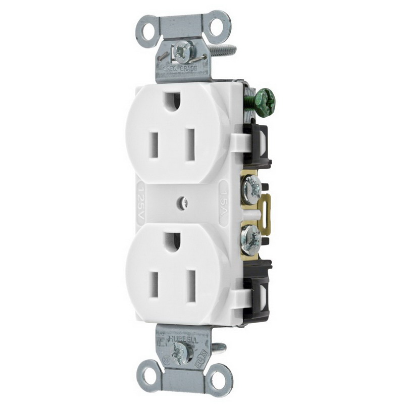 Hubbell Wiring BR20WHI Double Pole Straight Blade Duplex Receptacle; Screw Mount, 125 Volt, 20 Amp, White