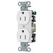 Hubbell Wiring BR15WHI Double Pole Straight Blade Duplex Receptacle; Screw Mount, 125 Volt, 15 Amp, White