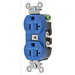 Hubbell Wiring 5362BL Double Pole Straight Blade Duplex Receptacle; Screw Mount, 125 Volt, 20 Amp, Blue