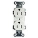 Hubbell Wiring BR15WHITR Tamper Resistant Double Pole Straight Blade Flush Duplex Receptacle; Screw Mount, 125 Volt, 15 Amp, White