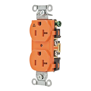 Hubbell Wiring IG20CR Double Pole Isolated Ground Straight Blade Receptacle; Screw Mount, 125 Volt, 20 Amp, Orange