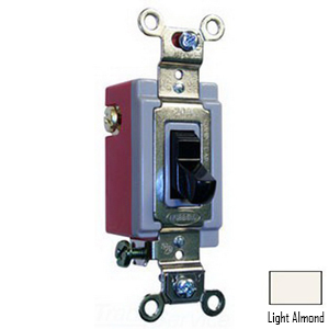 Hubbell Wiring 1223LA Two Position AC Toggle Switch; 1-Pole, 120 - 277 Volt AC, 20 Amp, Light Almond