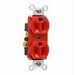 Pass & Seymour 8200-HRED Double Pole Heavy Duty Duplex Receptacle; Wall Mount, 125 Volt, 15 Amp, Red