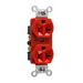 Pass & Seymour CRB5362-RED Double Pole Duplex Receptacle; Wall Mount, 125 Volt, 20 Amp, Red