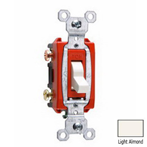 Pass & Seymour CS20AC3-LA 3-Way Toggle Switch; 3-Pole, 120/277 Volt AC, 20 Amp, Light Almond