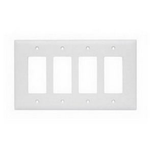 Pass & Seymour TPJ264-W tradeMaster® 4-Gang Jumbo-Size Decorator Wallplate; Wall Mount, Nylon, White