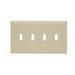Pass & Seymour TPJ4-I tradeMaster® 4-Gang Jumbo-Size Toggle Switch Wallplate; Wall Mount, Thermoplastic, Ivory