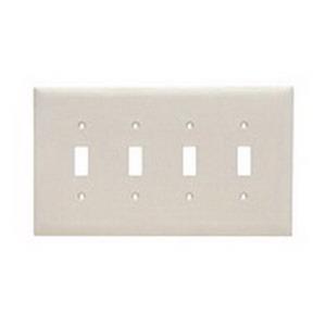 Pass & Seymour TPJ4-LA tradeMaster® 4-Gang Jumbo-Size Toggle Switch Wallplate; Wall Mount, Thermoplastic, Light Almond
