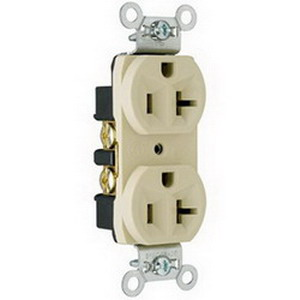 Pass & Seymour CRB5362-I Double Pole Duplex Receptacle; Wall Mount, 125 Volt, 20 Amp, Ivory
