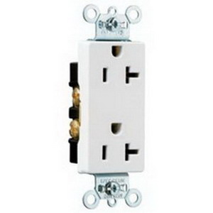 Pass & Seymour 26342-W Double Pole Straight Blade Duplex Receptacle; Wall Mount, 125 Volt, 20 Amp, White