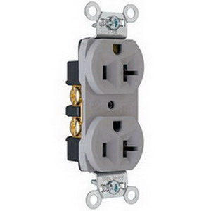 Pass & Seymour CRB5362-GRY Double Pole Duplex Receptacle; Wall Mount, 125 Volt, 20 Amp, Gray