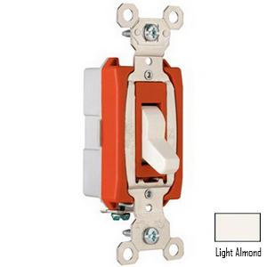 Pass & Seymour PS20AC1-LA Extra Heavy Duty Grade Toggle Switch 1-Pole  120/277 Volt AC  20 Amp  Light Almond