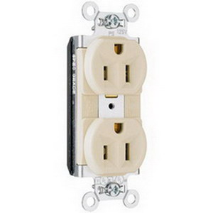 Pass & Seymour PT5362-I PlugTail™ Double Pole Duplex Receptacle; Wall Mount, 125 Volt, 20 Amp, Ivory