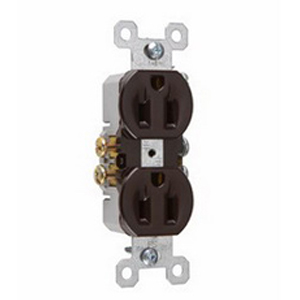 Pass & Seymour 3232 tradeMaster® Tamper Resistant Double Pole Straight Blade Duplex Receptacle; Wall Mount, 125 Volt AC, 15 Amp, Brown