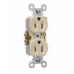 Pass & Seymour 3232-I tradeMaster® Tamper Resistant Double Pole Straight Blade Duplex Receptacle; Wall Mount, 125 Volt AC, 15 Amp, Ivory