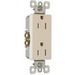 Pass & Seymour 885-TRLA tradeMaster® Tamper Resistant Double Pole Decorator Receptacle; Wall Mount, 125 Volt AC, 15 Amp, Light Almond