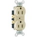 Pass & Seymour CRB5262-I Double Pole Duplex Receptacle; Wall Mount, 125 Volt, 15 Amp, Ivory