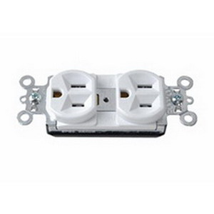 Pass & Seymour PT5362-W PlugTail™ Double Pole Duplex Receptacle; Wall Mount, 125 Volt, 20 Amp, White