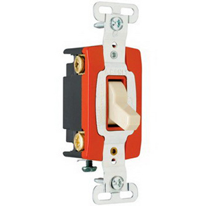 Pass & Seymour PS20AC4-I Extra Heavy Duty Grade Toggle Switch; 4-Pole, 120/277 Volt AC, 20 Amp, Ivory
