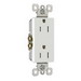 Pass & Seymour 885-TRW tradeMaster® Tamper Resistant Double Pole Decorator Receptacle; Wall Mount, 125 Volt AC, 15 Amp, White