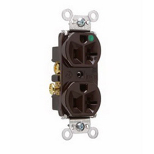 Pass & Seymour 8300-H Double Pole Heavy Duty Duplex Receptacle; Wall Mount, 125 Volt, 20 Amp, Brown