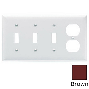 Pass & Seymour SP38 4-Gang Standard-Size Combination Wallplate; Wall Mount, Thermoset Plastic, Brown