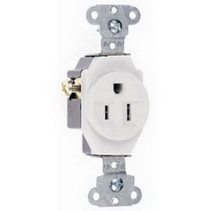 Pass & Seymour 5251-W Double Pole Straight Blade Single Receptacle; Wall Mount, 125 Volt, 15 Amp, White