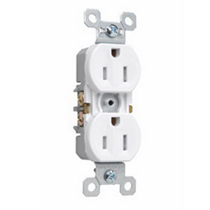 Pass & Seymour 3232-TRSW tradeMaster® Tamper Resistant Double Pole Straight Blade Duplex Receptacle; Wall Mount, 125 Volt AC, 15 Amp, White