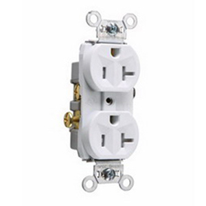 Pass & Seymour TR20-W Tamper Resistant Double Pole Duplex Receptacle; Wall Mount, 125 Volt AC, 20 Amp, White