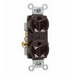 Pass & Seymour CR20 Double Pole Straight Blade Duplex Receptacle; Wall Mount, 125 Volt, 20 Amp, Brown