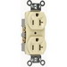 Pass & Seymour CR20-I Double Pole Straight Blade Duplex Receptacle; Wall Mount, 125 Volt, 20 Amp, Ivory
