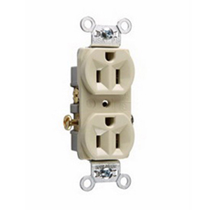 Pass & Seymour CR15-I Double Pole Straight Blade Duplex Receptacle; Wall Mount, 125 Volt AC, 15 Amp, Ivory