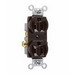 Pass & Seymour CR15 Double Pole Straight Blade Duplex Receptacle; Wall Mount, 125 Volt AC, 15 Amp, Brown