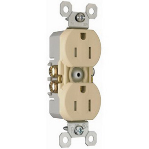 Pass & Seymour 3232-TRI tradeMaster® Tamper Resistant Double Pole Straight Blade Duplex Receptacle; Wall Mount, 125 Volt AC, 15 Amp, Ivory