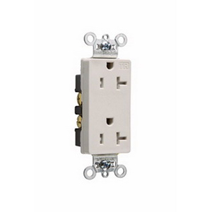Pass & Seymour TR26362-LA Tamper Resistant Double Pole Decorator Receptacle; Wall Mount, 125 Volt AC, 20 Amp, Light Almond