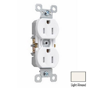 Pass & Seymour 3232-TRSLA tradeMaster® Tamper Resistant Double Pole Straight Blade Duplex Receptacle; Wall Mount, 125 Volt AC, 15 Amp, Light Almond