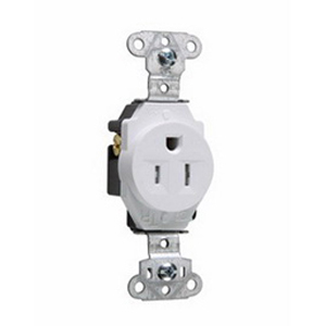Pass & Seymour TR5251-W Tamper Resistant Double Pole Single Receptacle; Wall Mount, 125 Volt AC, 15 Amp, White