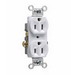 Pass & Seymour CR15-W Double Pole Straight Blade Duplex Receptacle; Wall Mount, 125 Volt AC, 15 Amp, White
