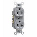 Pass & Seymour CR20-GRY Double Pole Straight Blade Duplex Receptacle; Wall Mount, 125 Volt, 20 Amp, Gray