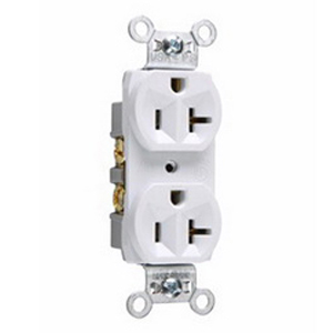 Pass & Seymour CR20-W Double Pole Straight Blade Duplex Receptacle; Wall Mount, 125 Volt, 20 Amp, White